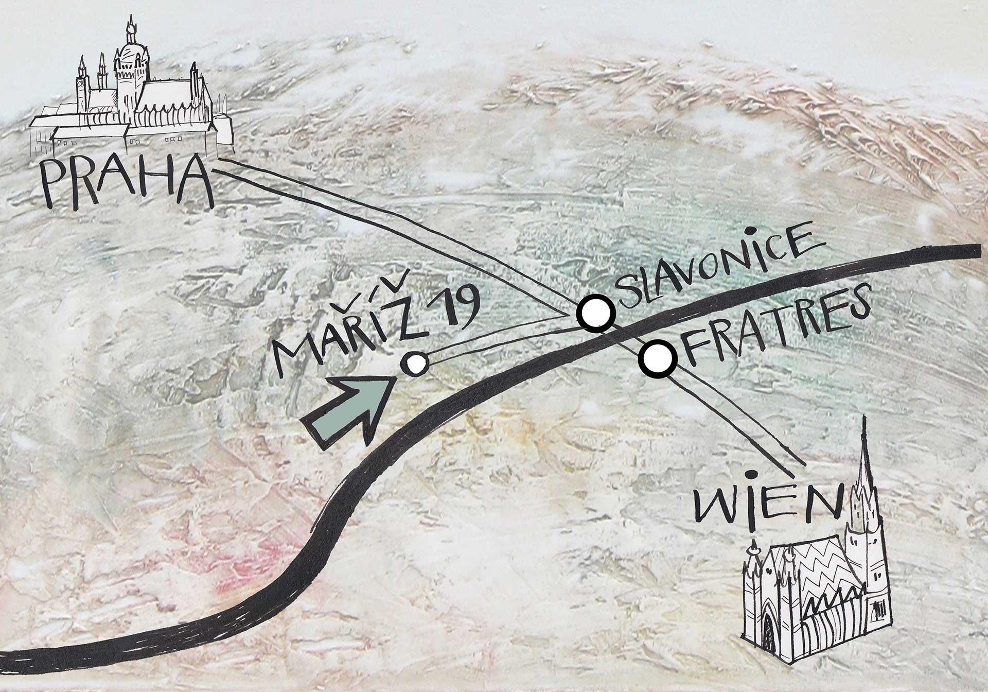Map Prague, Vienna, Maříž, Atelier Alena Schulz