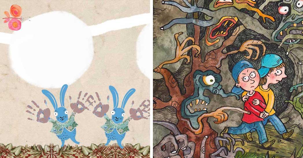Ilustrace z knih »NAUČ MĚ ŘÍKADLA | NAKLADATELSTVÍ AXIÓMA« a »BÁRA, MATES A ZELENÝ ŠKRALOUP | NAKLADATELSTVÍ OLYMPIA« od Aleny Schulzové.