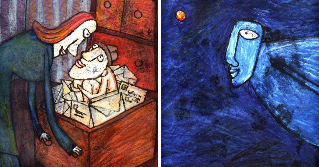 Monotypy »Milostné dopisy« a »Dr. Saurier« od Aleny Schulzové dobře demonstrují bravurní zvládnutí techniky monotypie.