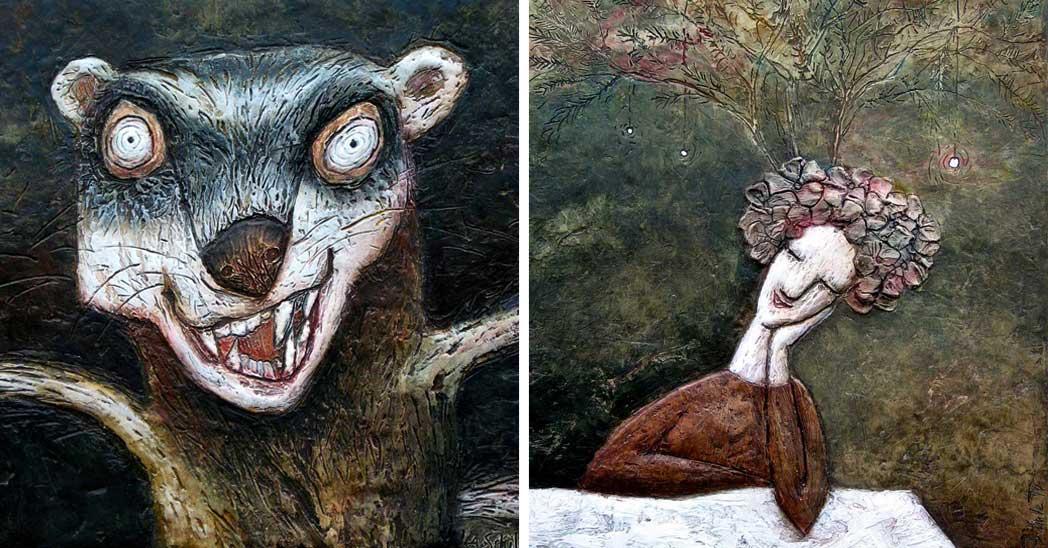 Obrazy »Tchoř« a »Tři přání« od Aleny Schulzové dobře demonstrují hru výrazných strukur a jemných pastelových barev.